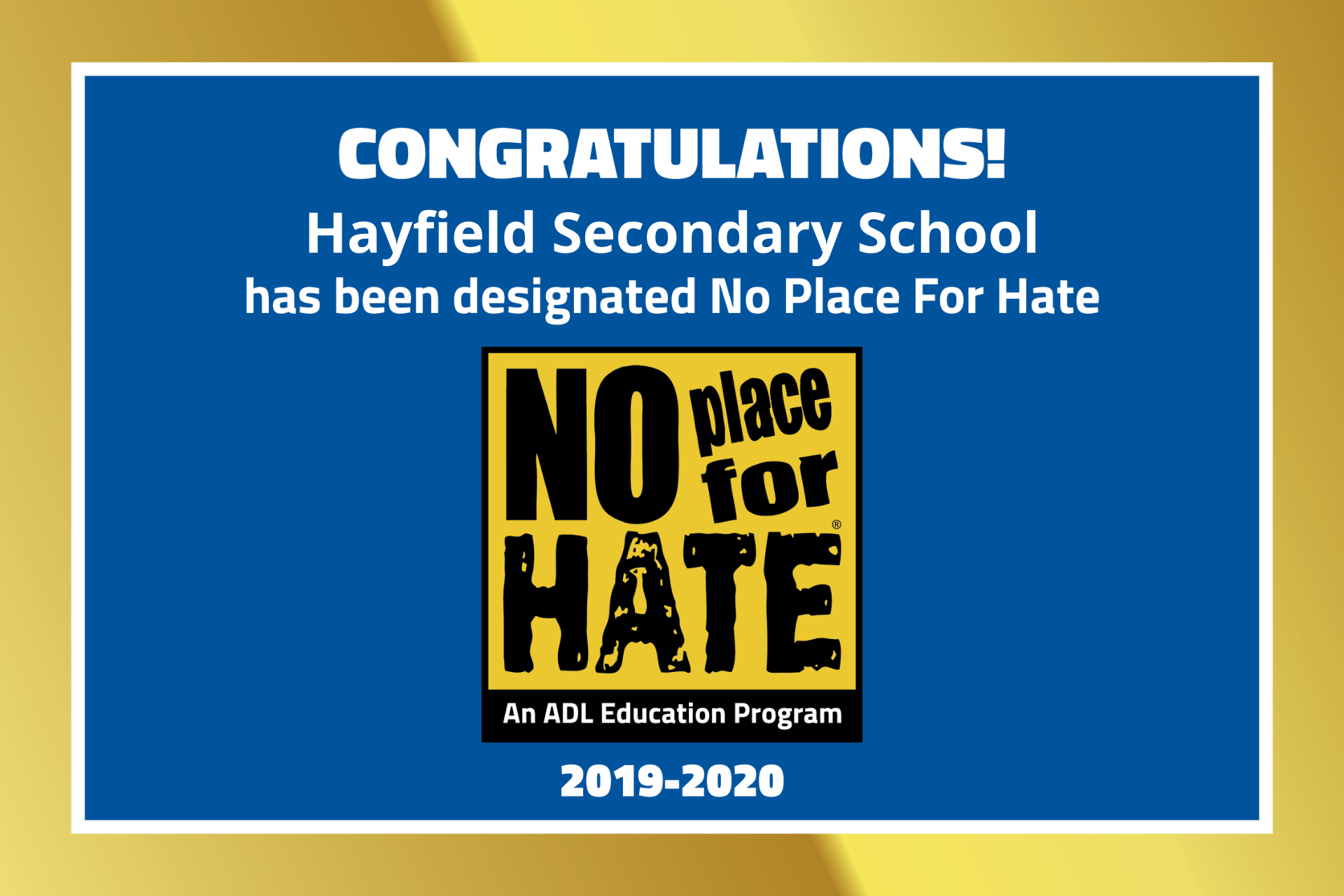 Hayfield Is No Place for Hate graphic